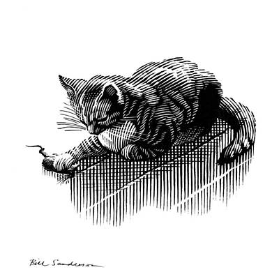 Linocut Photograph - Cat And Mouse, Artwork by Bill Sanderson