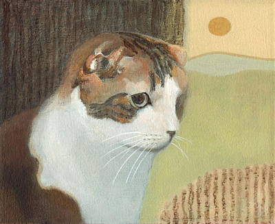 Cat And Sunset Art Print