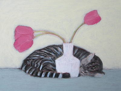 Cat And Tulips Art Print
