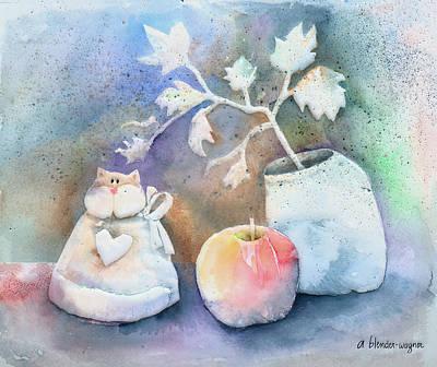 Apples Painting - Cat-apple-vase Still Life by Arline Wagner