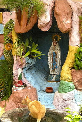 Art Print featuring the photograph Cat At The Grotto by Victoria Lakes