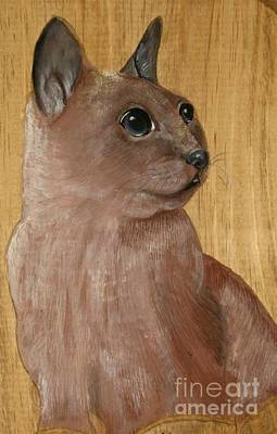 Cat Wood Carving Pyrography - Cat Brown by John  Lang