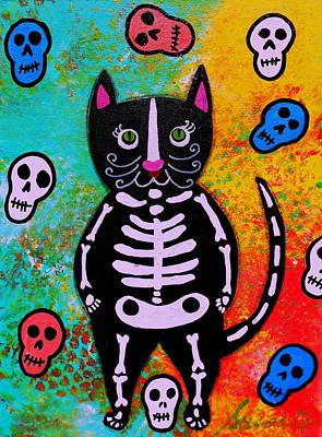 Blooms Painting - Cat Dia De Los Muertos by Pristine Cartera Turkus