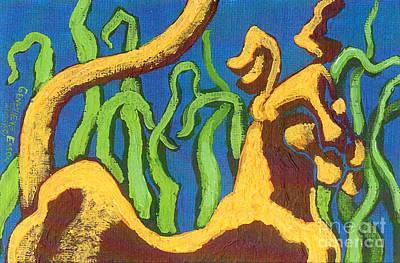 Aquamarine Painting - Cat Dog by Genevieve Esson