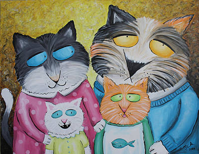 Cat Family Portrait Art Print by Jennifer Alvarez