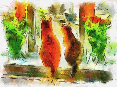Funny Dog Digital Art - Cat Friends by Yury Malkov