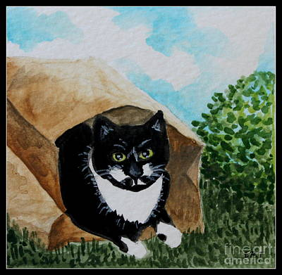 Cat Painting - Cat In The Bag by Elizabeth Robinette Tyndall