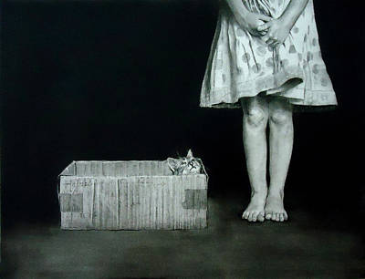 Drawing - Cat In The Box by Mickey Raina