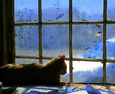 Cat In The Window Print by Randall Weidner