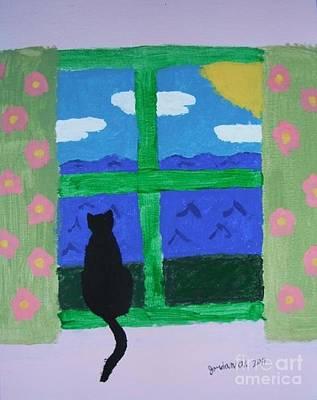 Cat In Window Art Print by Jeannie Atwater Jordan Allen