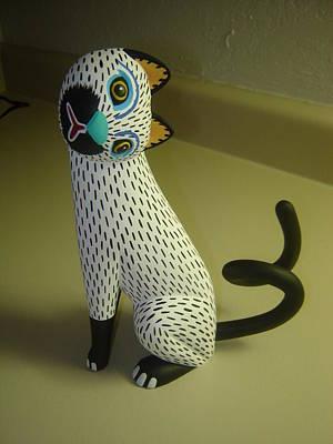 Cat Wood Carving Sculpture - cat by Luis pablo