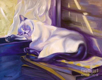 Painting - Cat Nap In The Office by Susan A Becker