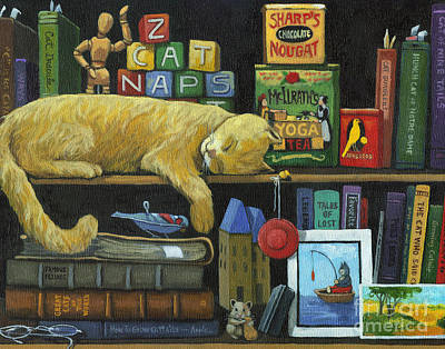 Old Books Painting - Cat Naps - Old Books Oil Painting by Linda Apple