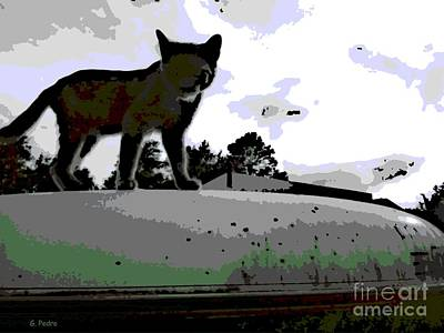 Digital Art - Cat On A Hot Tin Roof by George Pedro