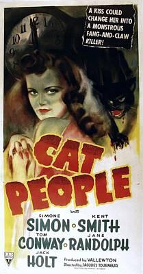 Lmps Photograph - Cat People, Simone Simon, 1942, Cat by Everett