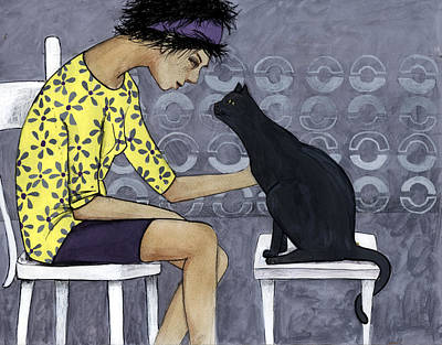 Color Bending Digital Art - Cat Talk by Georgiana Chitac