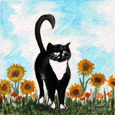 Painting - Cat Walk Through The Sunflowers by Elizabeth Robinette Tyndall