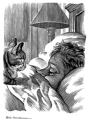 Linocut Photograph - Cat Watching Sleeping Man, Artwork by Bill Sanderson