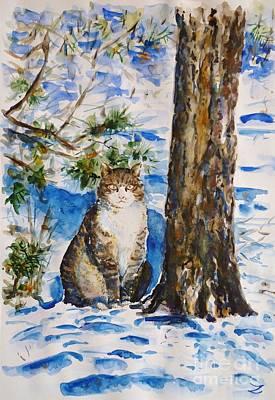 Painting - Cat by Zaira Dzhaubaeva
