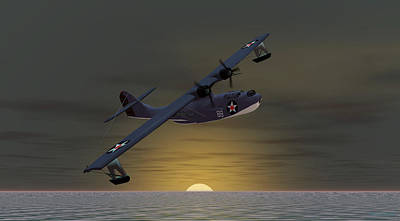 Art Print featuring the digital art Catalina Sunset by Walter Colvin