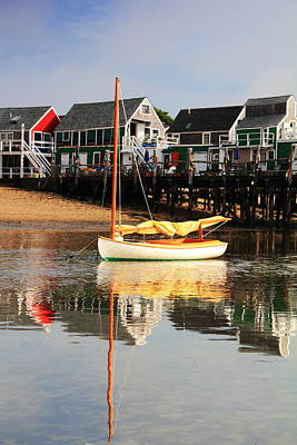 Catboat And Cottage Wharf In Provincetown Art Print by Roupen  Baker