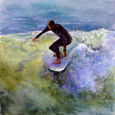 San Clemente Painting - Catch A Wave by Bonnie Rinier