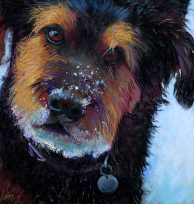 Dog In Snow Painting - Catching Snowballs by Billie Colson