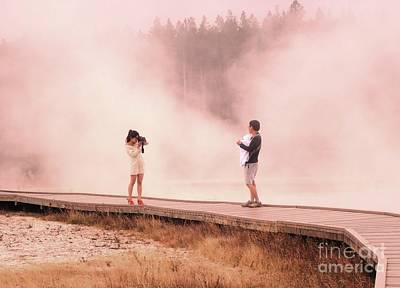 Catching The Steam In Yellowstone Art Print by Ann Johndro-Collins