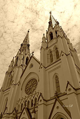 Cathedral Of St John The Baptist In Sepia Art Print by Suzanne Gaff