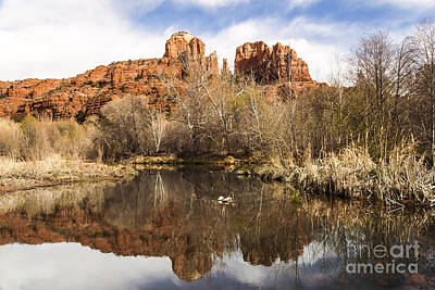 Sunset Photograph - Cathedral Rock Reflections Landscape by Darcy Michaelchuk