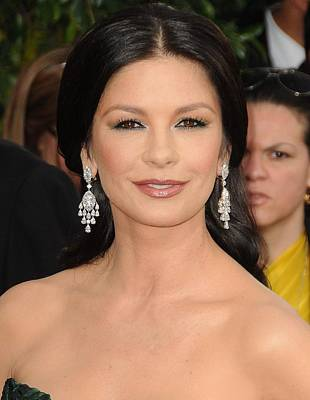 Chandelier Earrings Photograph - Catherine Zeta-jones Wearing Van Cleef by Everett