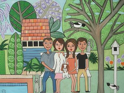 Painting - Cathy's Family by Elizabeth Langreiter
