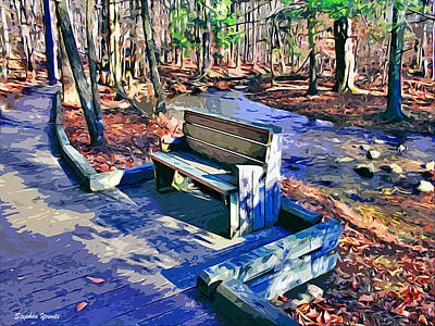 Md Digital Art - Catoctin Bench by Stephen Younts