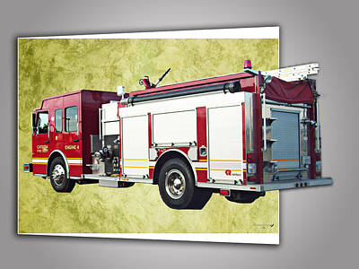 Catoosa Fire Engine 4 Art Print by Linda Deal