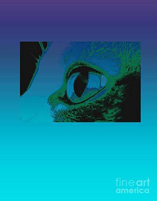 Digital Art - Cat's Eye Blue And Purple by Ann Powell
