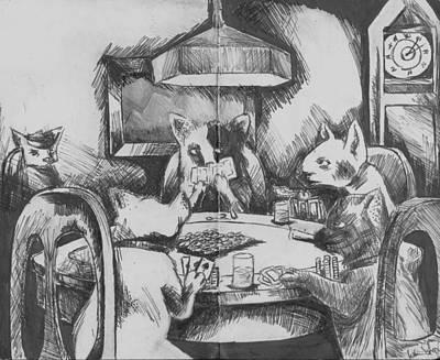 Cats Playing Poker Art Print by Warren Lindsey