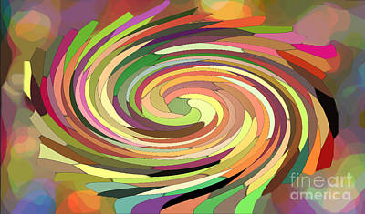Cat's Tail In Motion. Stained Glass Effect. Art Print