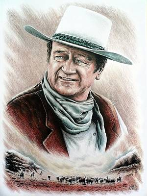 John Wayne Drawings Drawing - Cattle Drive Color Edit 1 by Andrew Read