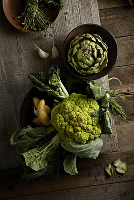 Y120817 Photograph - Cauliflower And Artichoke by Lew Robertson