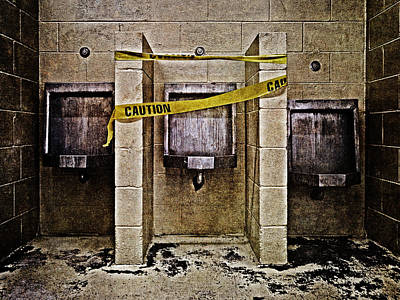 Urinal Photograph - Caution by Skip Nall