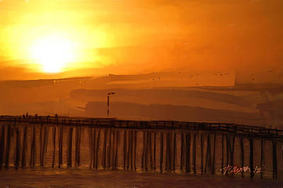 Digital Art - Cayucos Pier Sunset by Jim Pavelle