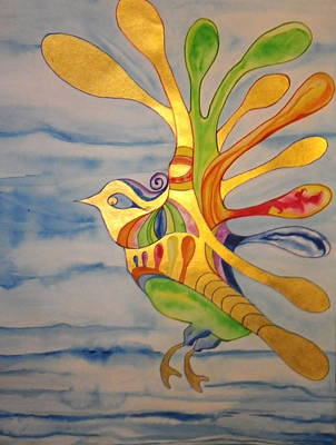 Painting - Cecilia The Psychedelic Seabird by Erika Swartzkopf
