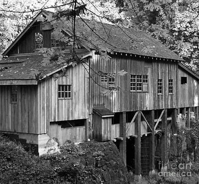 Photograph - Cedar Creek Grist Mill Bw 2 by Chalet Roome-Rigdon
