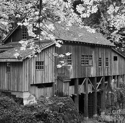 Photograph - Cedar Creek Grist Mill Bw by Chalet Roome-Rigdon