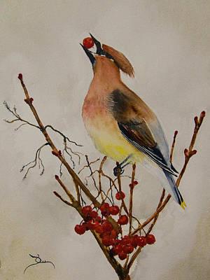 Cedar Waxwings Painting - Cedar Waxwing by Dee Carpenter