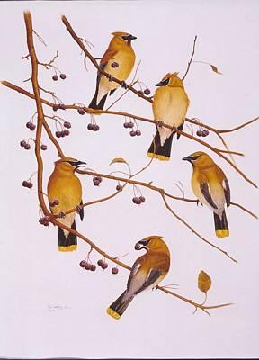 Cedar Waxwings Painting - Cedar Waxwing Flock by Bill Gehring