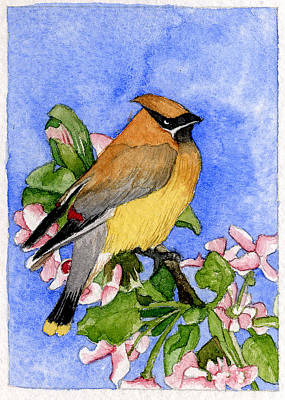 Painting - Cedar Waxwing In Spring by Eunice Olson