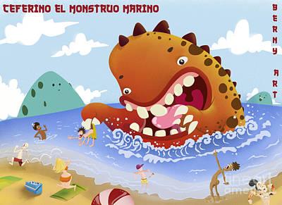 Wall Art - Digital Art - Ceferino El Monstruo Marino by Javier Bernardino