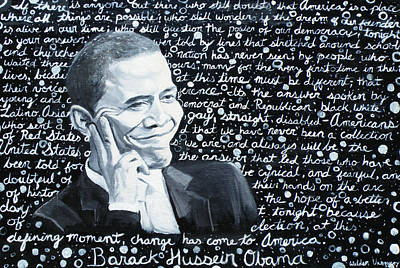 Barack Obama Painting - Celebrate Change by Welder Ramiro Vasquez