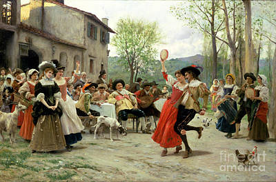 Crowd Scene Painting - Celebration by William Henry Hunt